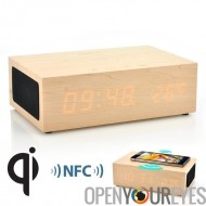 Qi Chargeur Wood Box Wifi - réveil - Enceinte Bluetooth - Supporte NFC - iPhone - phablet - Smartphone Android - tablette