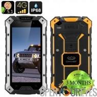 Conquest S6 Smartphone robuste - 4G, écran de 5 pouces HD, Android 5.1, IP68, 3 Go de RAM, NFC (argent jaune)