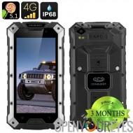 Conquête S6 Smartphone robuste - IP68, écran de 5 pouces HD, 4G, Dual SIM Android 5.1, 3 Go de RAM, NFC (noir argent)