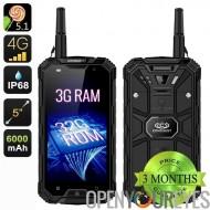 Conquête S8 Pro 3GB RAM Smartphone - écran 5 pouces IPS, 4G, Android 5.1, boussole, SOS, NFC, OTG, talkie-walkie (noir)