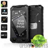 Conquête S6 Pro Smartphone 4G robuste - 3 Go de RAM, IP68, Android 5.1, 64 Go de mémoire, écran de 5 pouces, Core Octa (noir)