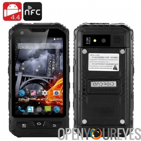 Téléphone Smatphone robuste de 4 pouces - double SIM, 4.4 Android, Quad Core CPU, IP67, 1Go de RAM + 8GB ROM, deux caméras, NFC