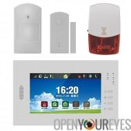 GSM + PSTN Accueil sécurité alarme système - 7 pouces écran tactile, capteur PIR, détecteur porte/fenêtre, télécommandes, Audio