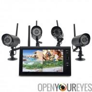 Système de caméra de sécurité domestique sans fil «Securial» - 4 x caméras sans fil intérieur, 7 pouces moniteur sans fil, DV