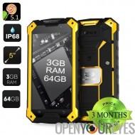 Conquête S6 Smartphone Pro robuste – 3 Go de RAM, 64GB mémoire, écran de 5 pouces, verre Gorilla, Android 5.1, IP68 (jaune)