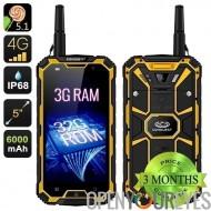 Conquête S8 Pro 3GB RAM Smartphone - écran de 5 pouces IPS de 4G, IP68, IR Control, Android 5.1, talkie-walkie (jaune)