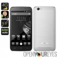 HOMTOM HT6 Smartphone - 5,5 pouces HD écran, Android 5.1, 64 bits Quad Core CPU, 6250mAh batterie (argent)