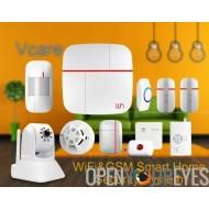VCareMC double réseau Smart Home Security System - iOS et Android Apps, Max 100 utilisateurs, caméra IP, capteur porte/fenêtre,