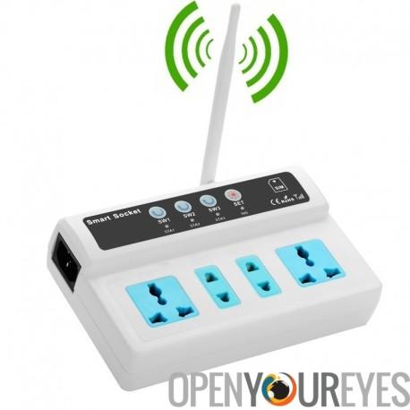 4 ports GSM Smart Switch Plug Socket - 110 à 245V, 10 a, SIM GSM, antenne, Interface de capteur de température