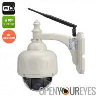 Sans fil étanche caméra PTZ - 720 P, Wi-Fi, Android + iOS Apps, Vision nocturne, détection de mouvement, 4 x Zoom, Audio bidire