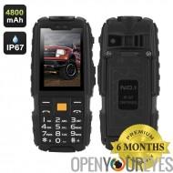 N ° 1 A9 GSM téléphone - 4800mAh batterie, écran 2,4 pouces 240 x 320, Radio FM, lampe torche, Dual SIM, IP67 étanche Rating (n