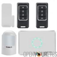 Sécurité à la maison système - GSM, SMS Notifications, capteur PIR, porte sans fil détecteur d'alarme, télécommande sans fil Au