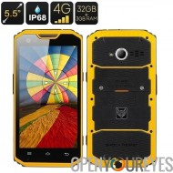 MFOX A7 Pro robuste Smartphone - écran de 5,5 pouces 1920 x 1080, MTK6595 Octa Core CPU, IP68, 4G, Android 4.4, 3 + 32 Go (jaun
