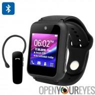 Montre téléphone intelligent de Ken Xin Da S9 - autonome portable quadri-bande GSM, oreillette Bluetooth, 1,54 pouces à écran t