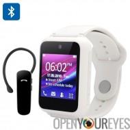 Ken Xin Da S9 Smart Phone Watch - quadri-bande, écran tactile de 1,54 pouces, caméra, oreillette Bluetooth 2.0 (blanc)