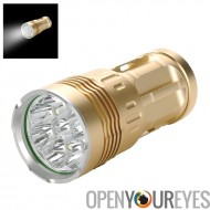 Skyray CREE T6 LED Flashlight - 6400Lumen, stroboscope haute, Med, 8 x Cree XM-L2 T6 LED, 4 piles 18650 (or)