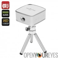 iDeaUSA Pico Mini projecteur - 120 pouces Projection, 1080p, 5000mAh batterie 80 Lumen, format de poche, iOS, Android, Mac, Win