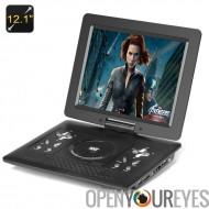 Lecteur DVD Portable de 12,1 pouces : Game Controller, télécommande, chargeur de voiture, écran pivotant, antenne