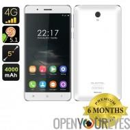 OUKITEL K4000 5inch Smartphone - 4G, MTK6735P Quad Core CPU, écran de 2,5 D, verre trempé, Android 5.1 (blanc)
