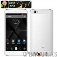 DOOGEE T6 Smartphone Android - écran de 5.5 pouces, 4G, Android 5.1, 6250mAh batterie, Smart suite, geste noeud de télédétectio
