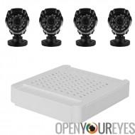 Compact 4 canaux HD NVR Kit - 4 caméras 720p de Wi-Fi, Motion Detection, Vision nocturne, télécommande affichage, ONVIF 2.2