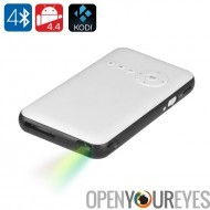 Android 4,4 DLP Mini projecteur - 100 lumens, contraste 2000: 1, Quad Core CPU, WiFi, Bluetooth, Kodi
