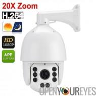 Auto Tracking PTZ caméra dôme - capteur CMOS 1/2.8 pouces, 20 X Zoom, Vision de nuit de 120 mètres, IP66, rapide Pan + Tilt, 10