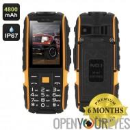 N ° 1 A9 GSM téléphone – 4800mAh batterie, écran 2,4 pouces 240 x 320, Dual SIM, IP67 étanche de note, Radio FM, lampe de poche