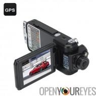 Boucle de double caméra HD voiture DVR - résolution HD, caméra de recul, Auto Record, Record, GPS, G-Sensor