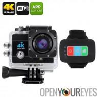 Q3H Etanche caméra de sport 4 K - 16MP, Zoom numérique 4 X, 2 pouces à écran LCD, objectif grand Angle de 170 degrés (noir)