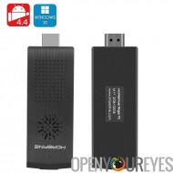MoreFine M1 + Dongle TV Dual Boot - Windows 4.4 10 + Android, Intel Quad Core CPU, 2 Go de RAM, Slot Micro SD 128 Go, Bluetooth