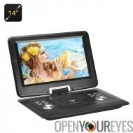 14 pouces lecteur DVD Portable - écran de rotation de 270 degrés, Region Free, 1280 x 800 résolution, Hitachi lentille, anticho