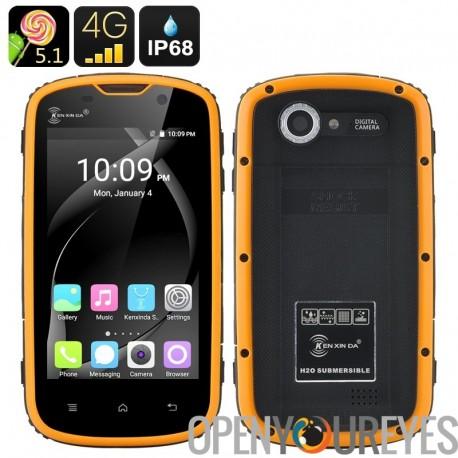 HK entrepôt Ken Xin Da Smartphone robuste - IP68, antichoc, écran tactile de 4 pouces Android 5.1, 4G, Dual SIM (jaune)