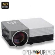Mini LCD projecteur - LED de 80 Lumens, Support du 1080p, HDMI, Projection de 30 à 200 pouces, contraste de 500 : 1