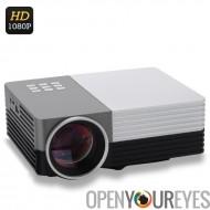 Mini LCD projecteur - LED de 80 Lumens, Support du 1080p, HDMI, Projection de 30 à 200 pouces, contraste de 500: 1