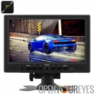 7 pouces TFT LCD voiture moniteur - 800 x 480 résolution Native, HDMI + VGA entrées vidéo, Stand de rotation de 360 degrés