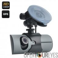 Double caméra voiture DVR - écran 2,7 pouces, 130 degré lentille, GPS, G-Sensor, Double capteur CMOS, Micro SD, décodage H.264