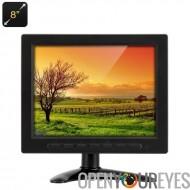8 pouces TFT-LCD moniteur - VGA, BNC + AV entrée, résolution 1024 x 768, 400: 1 contraste, télécommande, support réglable