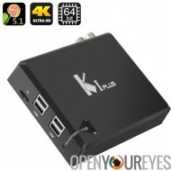 K1 et K 4 Android TV Box - Amlogic S905 Quad Core CPU, 4 Ports USB, DVB-T2 + DVB-S2, Kodi, DLNA, AirPlay, Miracast