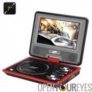 7 pouces lecteur DVD Portable avec fonction de jeu - écran rotatif, écran couleur TFT, eBook, contrôleur de jeu (rouge)