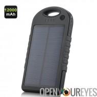 12000mah chargeur alimenté solaire - résistant aux intempéries, étanche à la poussière, résistant aux chocs, double USB sortie,