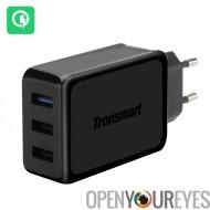 Chargeur rapide secteur Tronsmart W3PTA - Charge rapide 3.0, VoltIQ, 3 x USB, prise UE, surintensité, sous-tarification Protect
