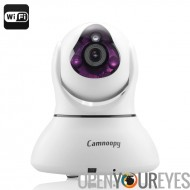 Caméra IP de Camnoopy CN-PT100-E-Wi-Fi, 720p, Plug-and-Play, Vision nocturne, enregistrement Local, assistance téléphonique, al