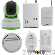 Smart Home Safety + Kit de sécurité - caméra IP, détecteur de gaz, détecteur de fumée, détecteurs PIR, DETECTEURS ouverture por