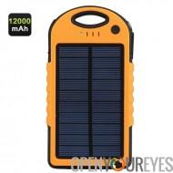 12000mAh robuste Solar Power Bank - 4 adaptateurs, USB double sortie, IPX6 imperméable à l'eau, Dust Proof, antichoc, LED Light