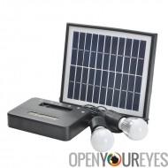Système d'éclairage solaire à la maison - panneau solaire 5W avec câble de 5 mètres, 2x1W ampoules, 4400mAh Power Bank, respect
