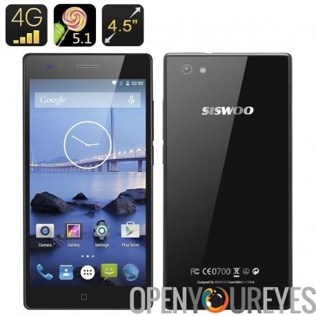 Siswoo A4 + Android 5.1 Smartphone - écran de 4,5 pouces, double SIM 4G, Quad Core CPU, batterie 1800mAh, Smart Wake, 1 Go de R