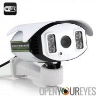 Caméra de sécurité IP HD - 1/4 de pouce CMOS, 720p, 4 x Zoom, H.264, 4 x SMD IR Array Light LED, 100 M de Vision nocturne, Wi-F