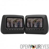Lecteur DVD appui-tête Set - 2 moniteurs appui-tête, 7 pouces TFT LCD, résolution 800 x 480, PAL, NTSC