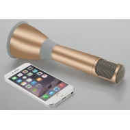 K068 Karaoke Microphone + Haut-parleur - Bluetooth KTV Effets + Enregistrement Câble 1000mAh Battery - Gold